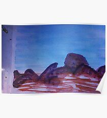 Big Boulders and Rocks  to  Cimb, watercolor Poster