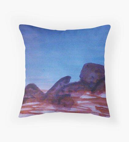 Big Boulders and Rocks  to  Cimb, watercolor Throw Pillow