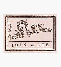 Benjamin Franklin's Join or Die Political Cartoon Photographic Print