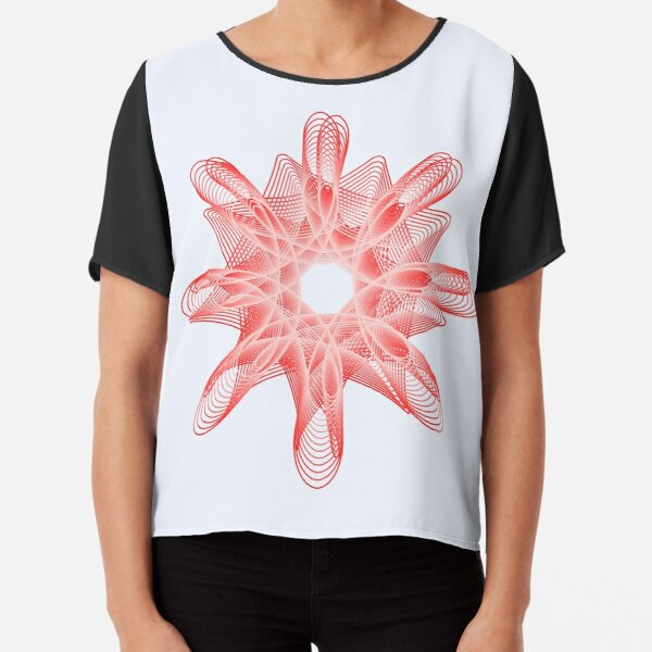 Spirals with Red and White Chiffon Top
