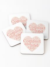 Christmas Gift - Comfort and Joy in Red and White - Holiday Decor - Clothing  Coasters