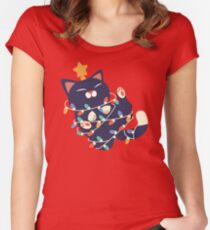 Christmas Kitty Fitted Scoop T-Shirt