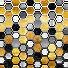 Hive honeycomb metallic abstract geometric pattern by Glimmersmith