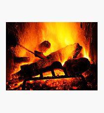 Fireplace Inferno Photographic Print