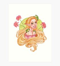 Elf with Frogs Art Print