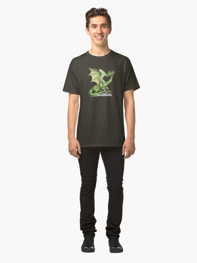Alternate view of Birthstone Dragon: August Peridot Illustration Classic T-Shirt