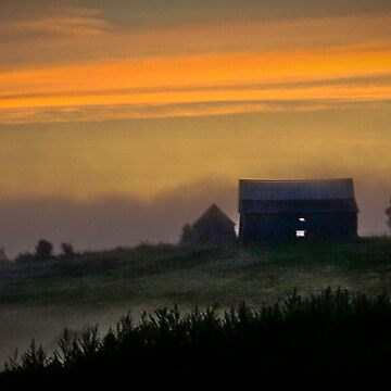 A Foggy Farmhouse Sunset by sruhs