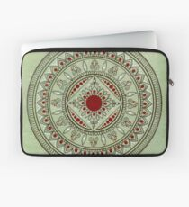 Hand Drawn Green And Red Mandala Laptop Sleeve