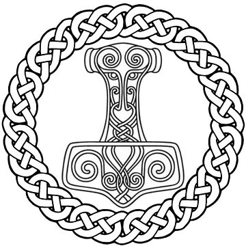 Thor's Hammer Asatru Pride Black and White Design by loki13outlaw
