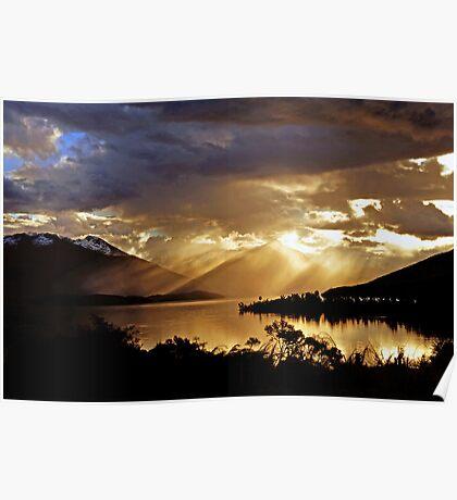 Lake Te Anau at sunset. South Island, New Zealand. (7) Poster