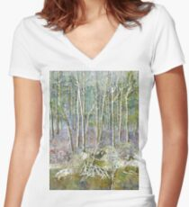 winter forest Women's Fitted V-Neck T-Shirt