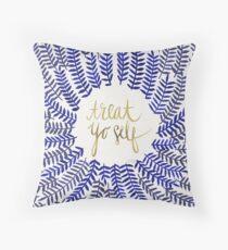 Treat Yo Self – Navy Throw Pillow