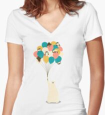Penguin Bouquet Women's Fitted V-Neck T-Shirt