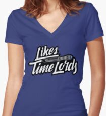 Likes Time Lords Women's Fitted V-Neck T-Shirt