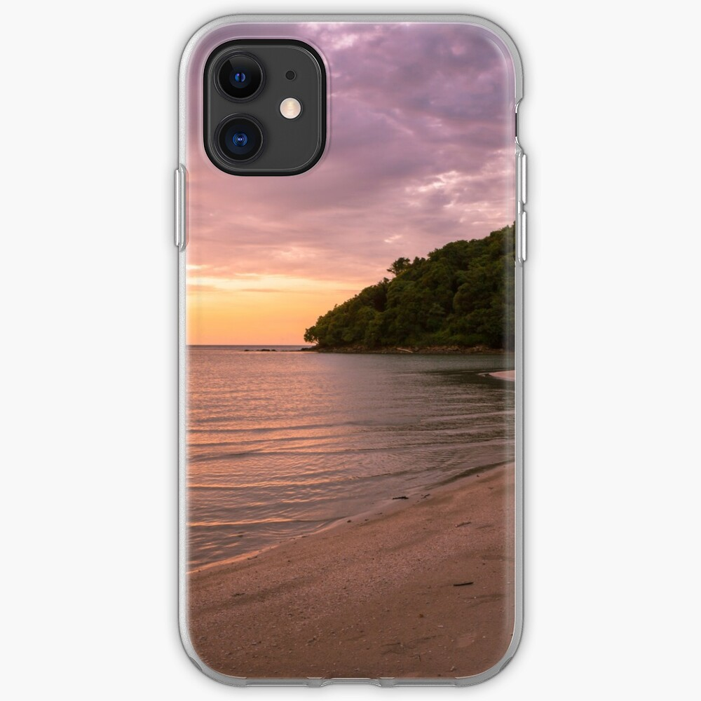 Tropical island and paradise beach at sunset iPhone Case & Cover