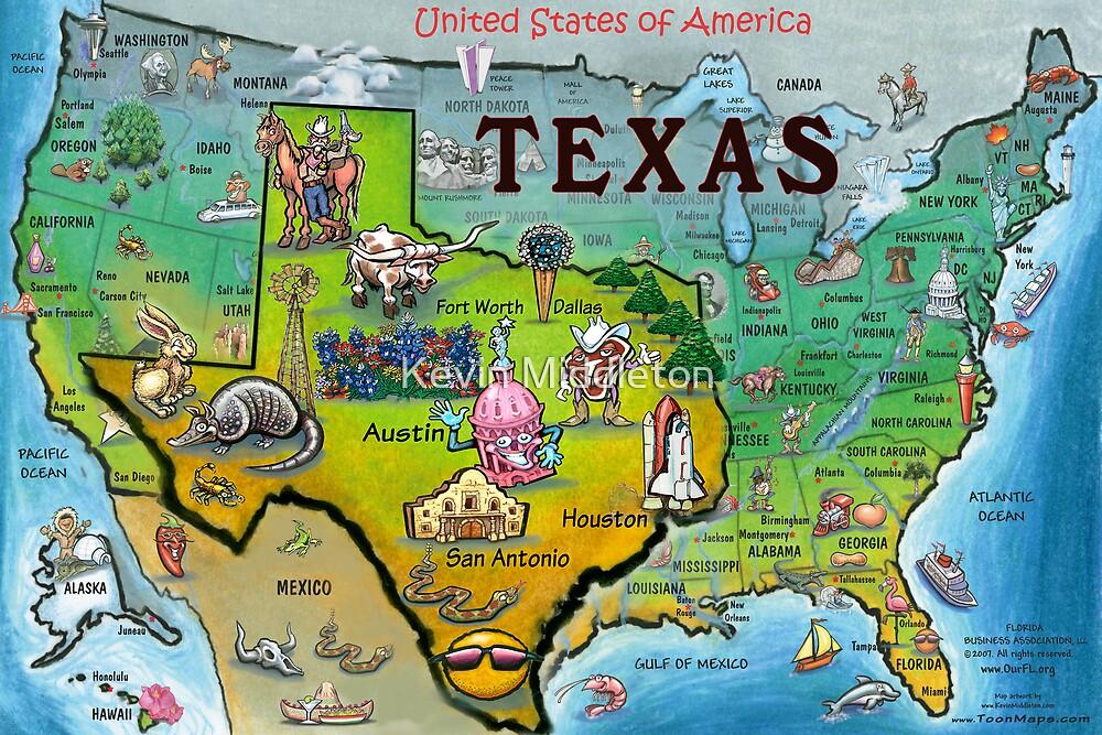 San Antonio En Dibujos Animados: Texas Map Cartoon