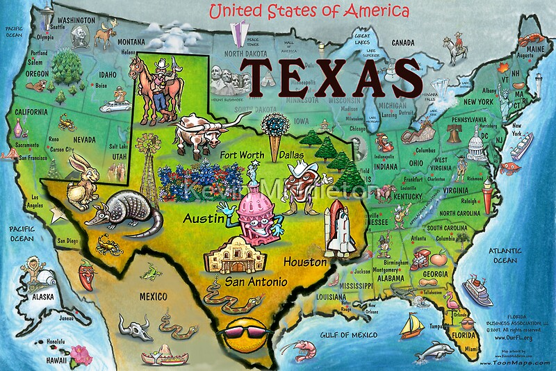 Texas USA Cartoon Map Posters By Kevin Middleton Redbubble - Usa texas map