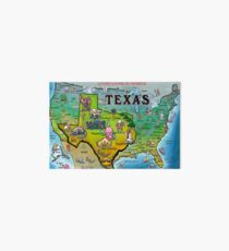 Texas USA Cartoon Map Art Board