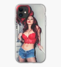 """Sexy Fashion Photography  - """"Sexy Asian Girl with Red Hair with Red Heart Balloons - Modern Pinup"""" Featuring The Beautiful Model Yuni Kaye  iPhone Case"""