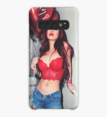 """Sexy Fashion Photography  - """"Sexy Asian Girl with Red Hair with Red Heart Balloons - Modern Pinup"""" Featuring The Beautiful Model Yuni Kaye  Case/Skin for Samsung Galaxy"""