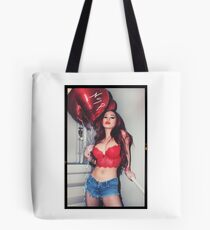 """Sexy Fashion Photography  - """"Sexy Asian Girl with Red Hair with Red Heart Balloons - Modern Pinup"""" Featuring The Beautiful Model Yuni Kaye  Tote Bag"""