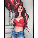 """Sexy Fashion Photography  - """"Sexy Asian Girl with Red Hair with Red Heart Balloons - Modern Pinup"""" Featuring The Beautiful Model Yuni Kaye  by Nico Simon Princely"""