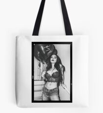 """Sexy Fashion Photography  - """"Sexy Asian Girl with Red Hair with Red Heart Balloons - Modern Pinup"""" Featuring The Beautiful Model Yuni Kaye in Black & White Tote Bag"""