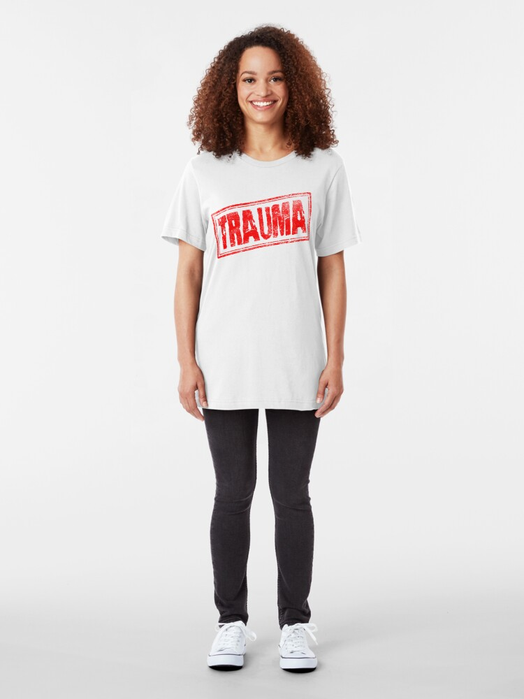 Alternate view of Trauma (Vintage Retro Stamp) Slim Fit T-Shirt