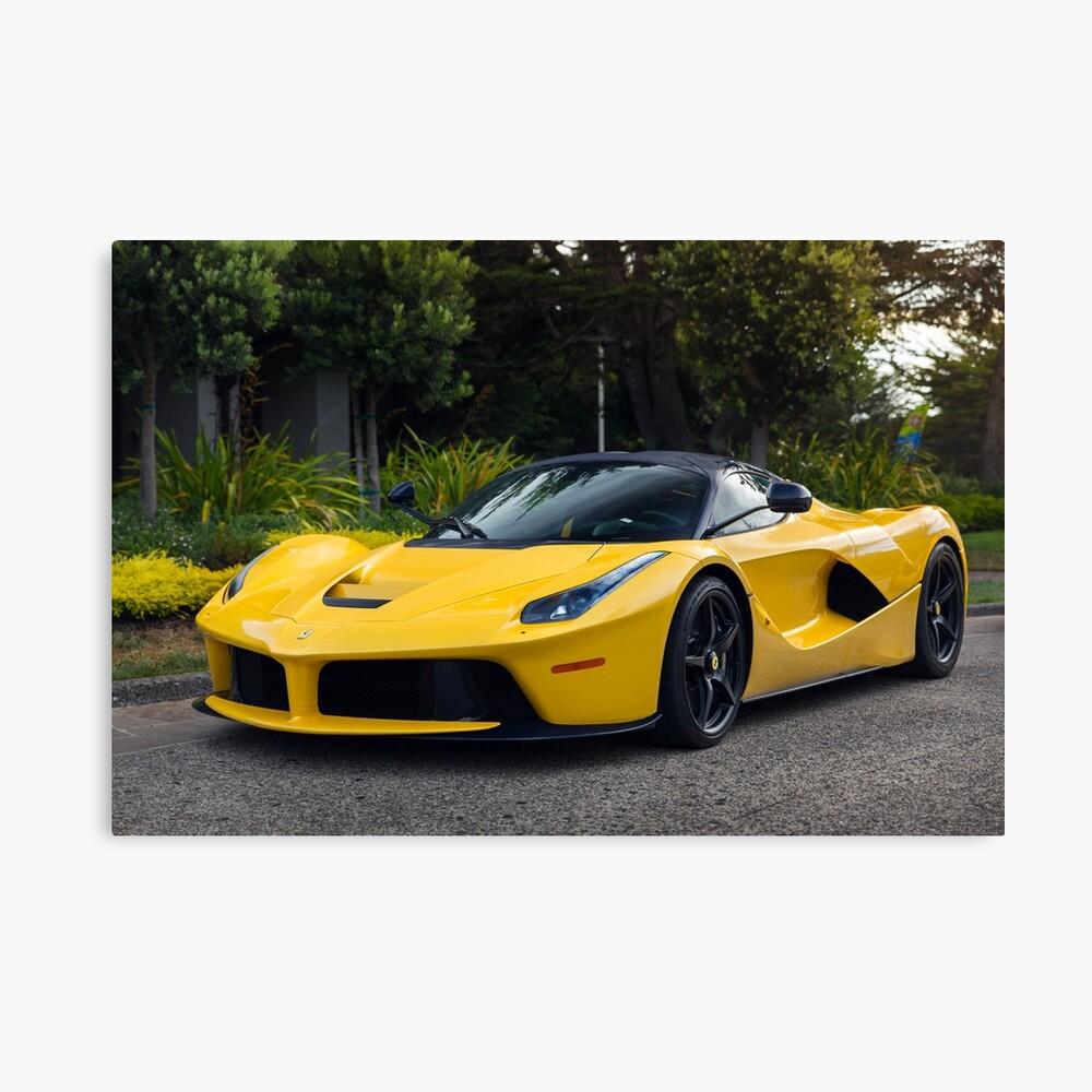 "Ferrari Laferrari Supercar Canvas Print: ""Yellow Ferrari LaFerrari"" Canvas Print By Dcoynepics"