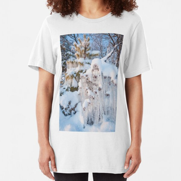 Beautiful icicles ice formation on small tree Slim Fit T-Shirt