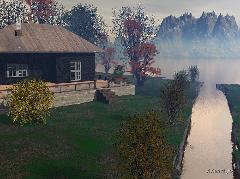 Misty morning at river cottage by vivien styles