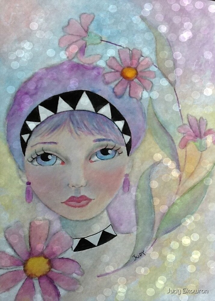 Whimiscal Girl with Purple Hair by Judy Skowron