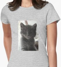 Sweet Grey Kitty Womens Fitted T-Shirt