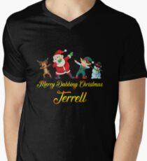 Terrell Name - Dabbing Santa Claus Elf Reindeer Snowman -  Merry Dabbing Christmas Terrell V-Neck T-Shirt