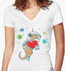 Otter Space  Women's Fitted V-Neck T-Shirt
