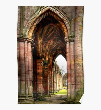 Looking Through the Arches at Melrose Abbey Poster