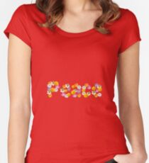 """Floral """"Peace"""" Design Women's Fitted Scoop T-Shirt"""