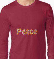 "Floral ""Peace"" Design Long Sleeve T-Shirt"