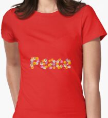 "Floral ""Peace"" Design Womens Fitted T-Shirt"