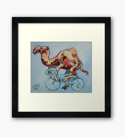 Camel on a Bicycle Framed Print