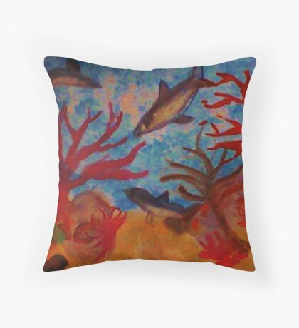 Sharks!!  Watercolor Throw Pillow