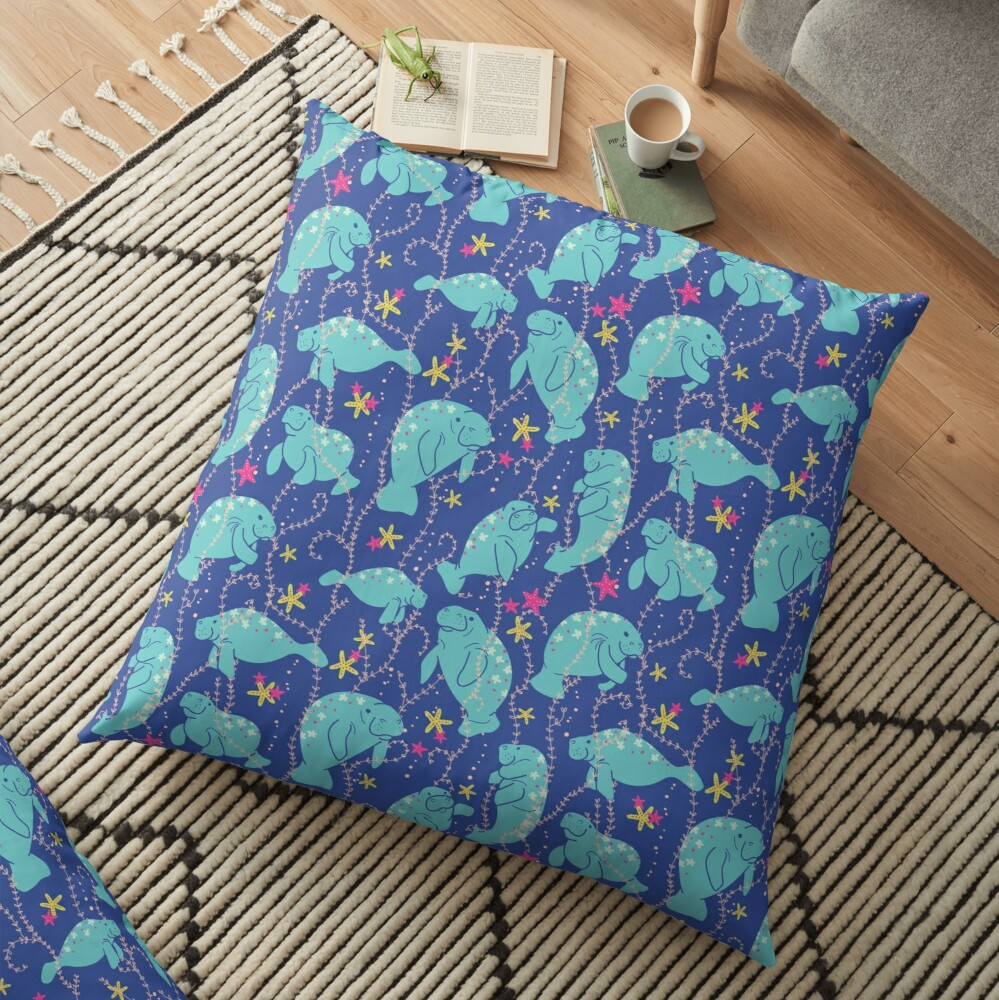 Oh the Hue-Manatee: bright  Floor Pillow