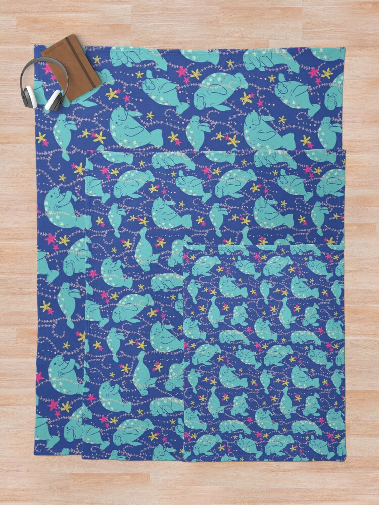 Alternate view of Oh the Hue-Manatee: bright  Throw Blanket