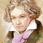 Ludwig van Beethoven im Aquarell Stil von Bach4you