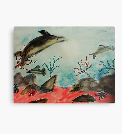 Frolicing Under the Sea,  watercolor Metal Print