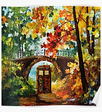 Abandoned time travel phone box under the bridge painting Poster