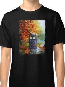 Autumn British Blue phone box painting Classic T-Shirt