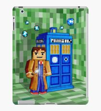 8bit blue phone box with space and time traveller iPad Case/Skin