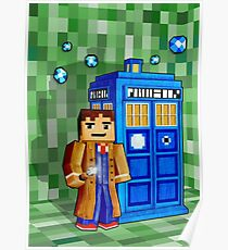 8bit blue phone box with space and time traveller Poster