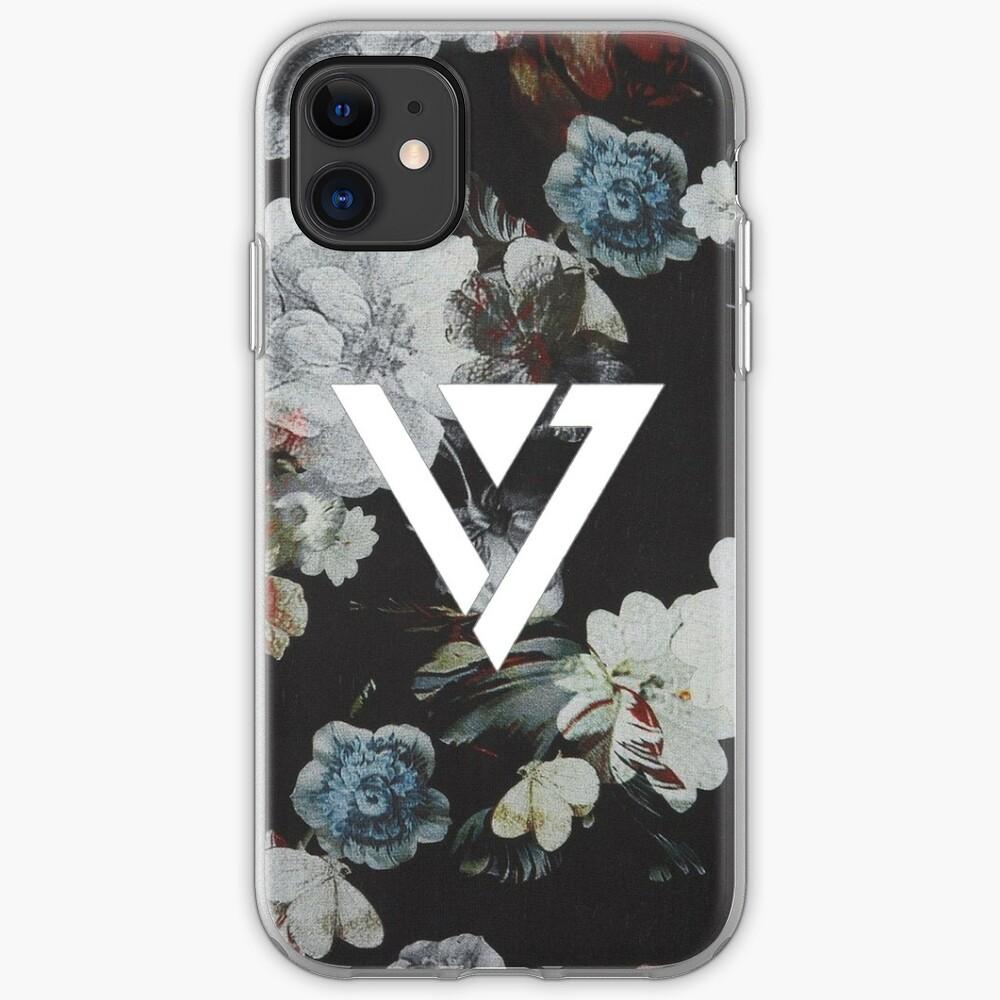 Schwarz Floral Siebzehn Kpop iPhone und Samsung Fall iPhone-Hülle & Cover